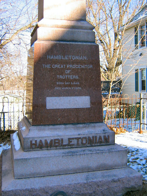 close up of inscription at the base of the Hambletonian monument